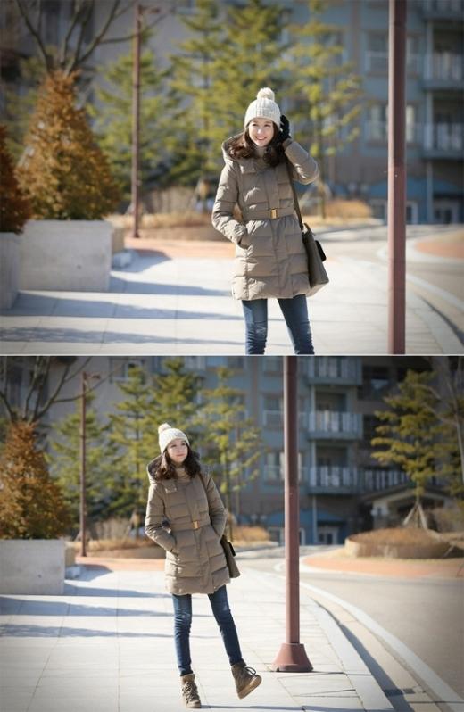 Phải thừa nhận rằng, phao là chất liệu chắn gió và giữ ấm tuyệt vời ngày lạnh. Bạn có thể phối với áo phao với quần jeans, bốt hoặc váy liền thân bên trong với legging.