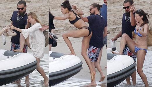 Leo nhiệt tình giúp đỡ các cô nàng lên thuyền
