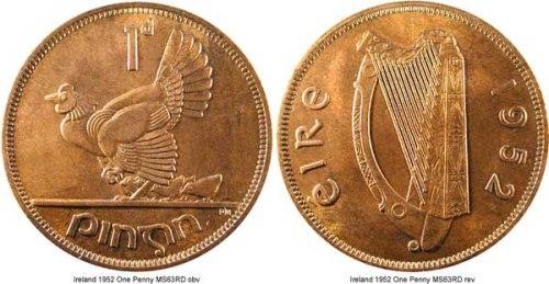 Một mặt của đồng xu may mắn Ireland in hình đàn hạc - biểu tượng của quốc gia này. Ảnh: Nwcoin