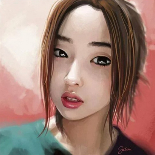 Minzy thích thú với bức tranh hình vẽ giống như người thật, cô chia sẻ: Wow...Giống y như người thật luôn. Thật tuyệt vời.