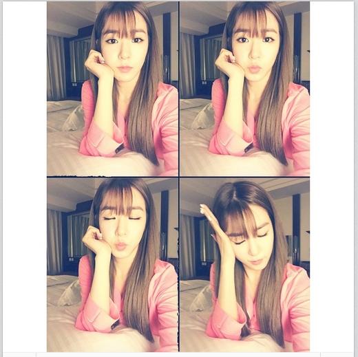 Sau khi hoàn thành buổi fan meeting tại Quảng Châu, Tiffany nhanh chóng khoe hình tự sướng cực đáng yêu và chúc fan ngủ ngon.