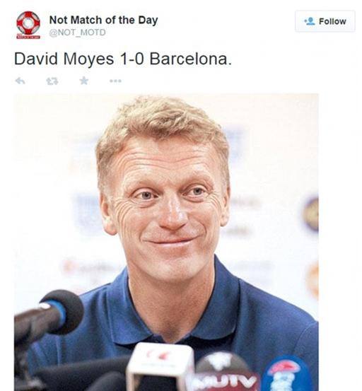Tỷ số của trận đấu là 'David Moyes 1-0 Barcelona'. Công lớn nhất trong chiến thắng của Sociedad thuộc về cựu HLV MU.