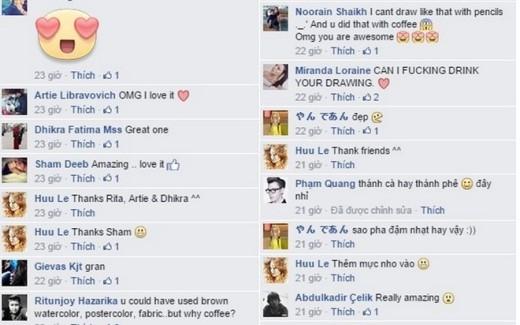 Những bình luận khen ngợi của cộng đồng nước ngoài dành cho tác phẩm của Trọng Hữu.Ảnh chụp màn hình.