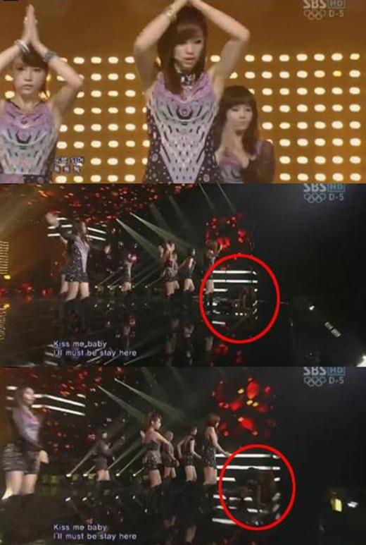 Hyomin cũng gặp sự cố trong khi biểu diễn