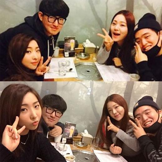 Bên cạnh đó, Minzy cũng khoe hình cùng các bạn của mình: Sau khi truyền tải được sự hạnh phúc, các bạn của tôi cùng nhau dùng bữa...