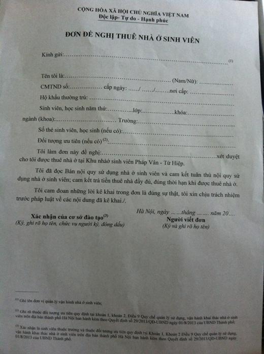 Mẫu đơn đăng kí nhà ở sinh viên.