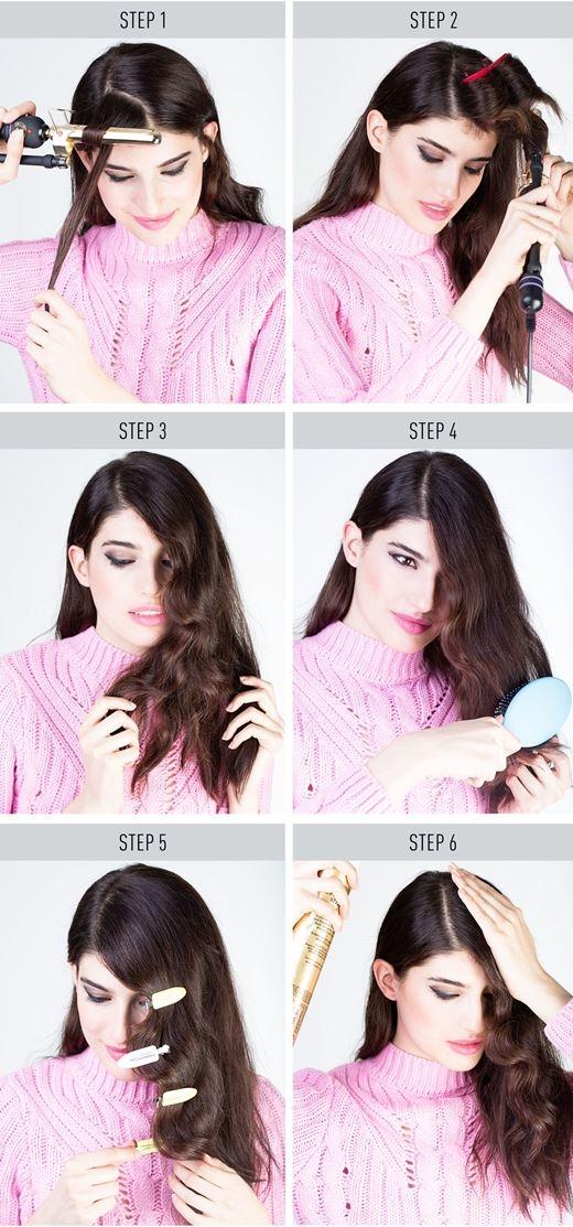 Hướng dẫn tạo kiểu tóc uốn gợn sóng một bên cực đơn giản