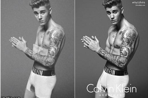 """Ảnh quảng cáo đồ lót """"chưa chỉnh sửa"""" của Justin Bieber là hàng giả"""