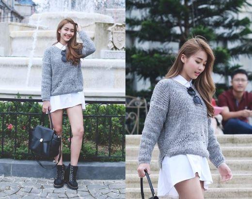 Thời trang mùa đông miền Nam với áo len mỏng và mốt giấu quần giúp cô nàng trong thanh lịch mà vẫn cá tính.