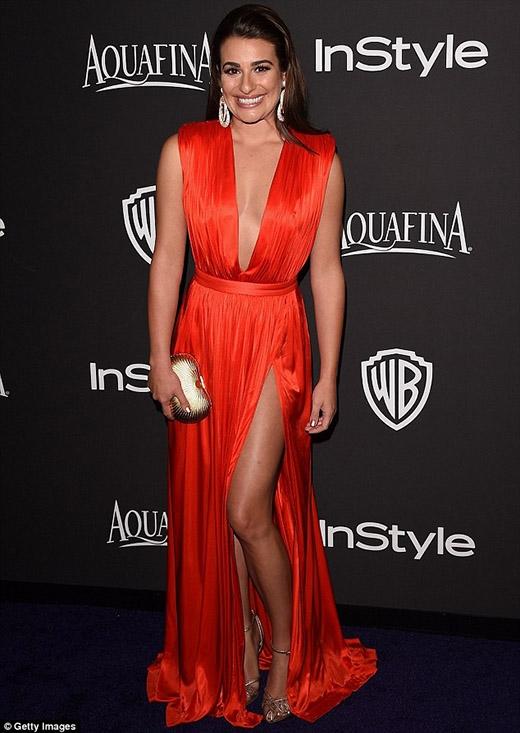 Diễn viên chính bộ phim truyền hình Glee Lea Michele rạng rỡ trong chiếc váy đỏ