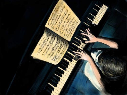 Bức tranh cô gái chơi đàn piano của người dùng Zengming