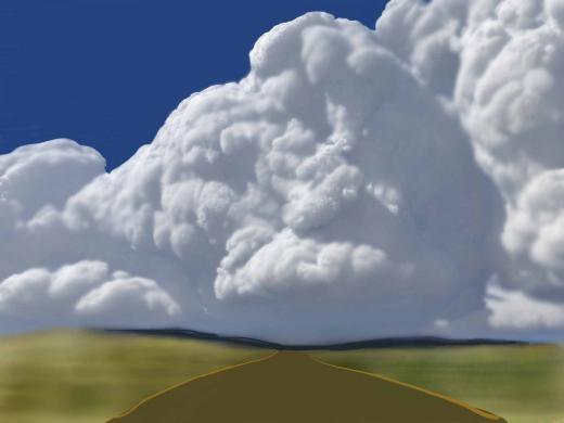 Những đám mây êm ái với phong cảnh được làm mờ - adoodlinby