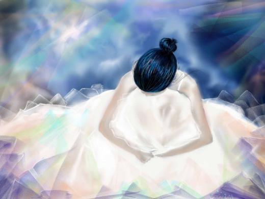 Anducika dùng phương pháp làm mờ blurring để tạo ra tác phẩm với không khí bình yên.