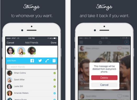 Strings - Ứng dụng cho phép xóa tin nhắn vĩnh viễn