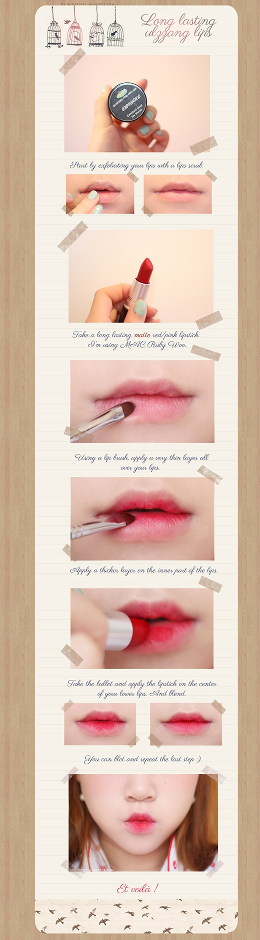 Nếu không có son tint, bạn có thể dùng những loại son sẵn có của mình tô lòng môi và thêm ít son bóng để tạo hiệu ứng căng mịn