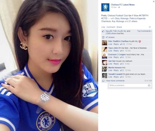 Á hậu Huyền My xinh đẹp trên trang fanpage của Chelsea