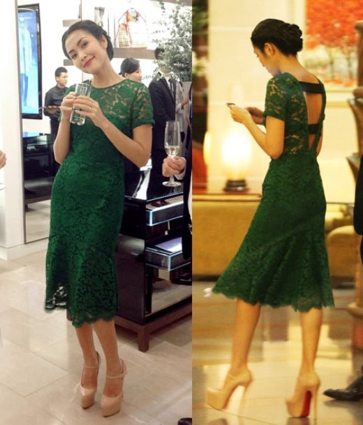 Với chiếc đầm hàng hiệu màu xanh lá cây sẫm có thiết kế đơn giản và gợi cảm này, Hà Tăng yêu kiều và cuốn hút như một công nương.