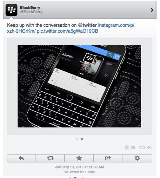 Bức ảnh quảng bá trên mạng xã hội của BlackBerry với chú thích via Twitter for iPhone.