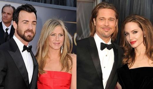 Jennifer Aniston cùng chồng mới cưới Justin Theroux và Angelina Jolie cùng Brad Pitt