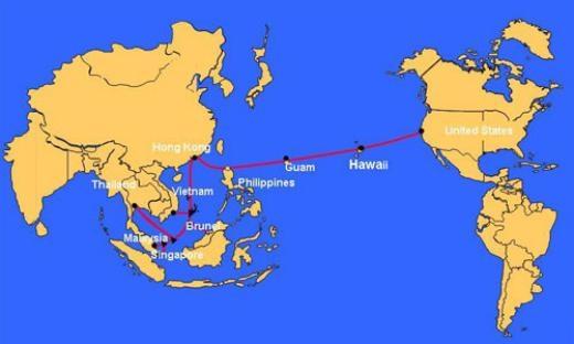 Sơ đồ tuyến cáp quang AAG nối liền Đông Nam Á với Mỹ.