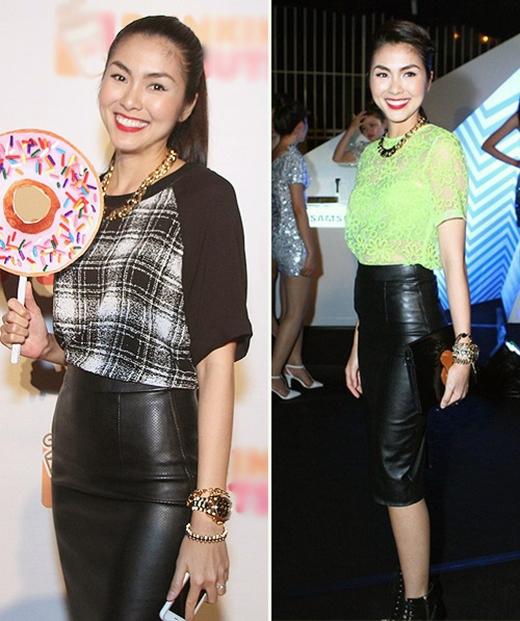 Chiếc váy bút chì đen là loại váy dễ phối hợp với nhiều kiểu áo và phụ kiện khác nhau, nó đã được Hà Tăng vận dụng khá tinh tế.