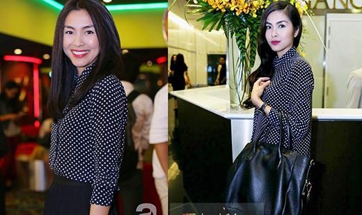 Chiếc áo sơ mi đen chấm bi được Hà Tăng mặc 2 lần trong 2 sự kiện khác nhau.
