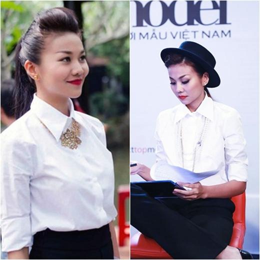 Cũng là chiếc áo sơ mi trắng và quần đen ôm sát người nhưng với phụ kiện khác nhau, Thanh Hằng vẫn tạo nên sự khác biệt với 2 phong cách này.