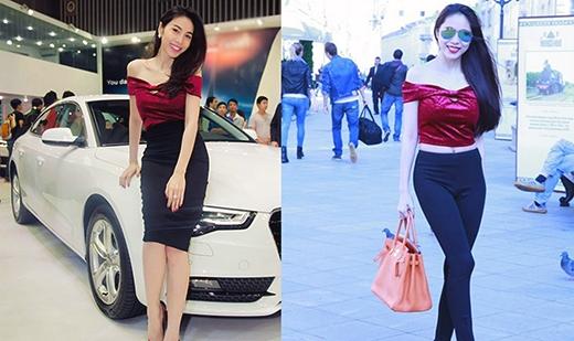 Chiếc áo nhung đỏ cổ ngang khoe vai trần dù kết hợp với chân váy hay quần bó sát đều làm bật lên sự quyến rũ của Thủy Tiên.