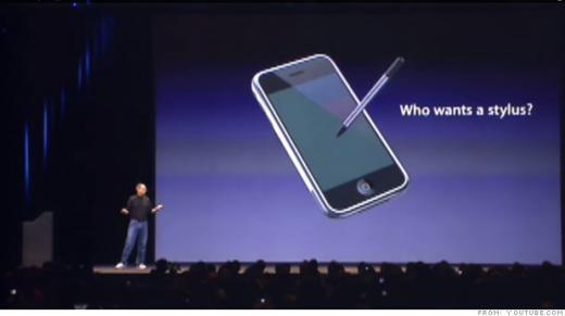 Steve Jobs mỉa mai bút cảm ứng trong hội thảo Macworld tại San Francisco.