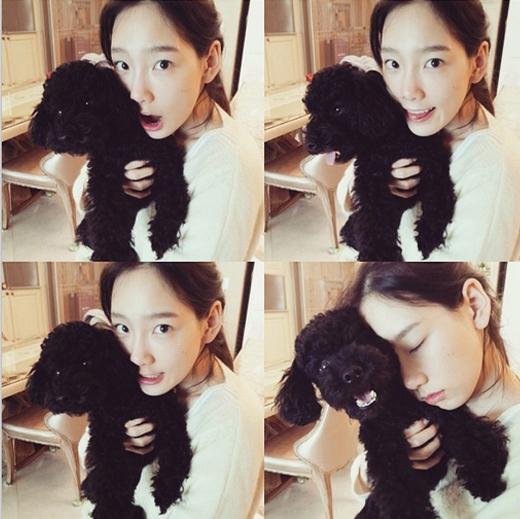 Taeyeon cực đáng yêu khoe hình bên chú cún cưng khiến fan vô cùng thích thú.