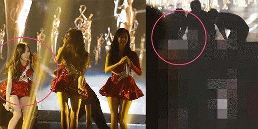 Taeyeon bị té ngã ngay trên sân khấu