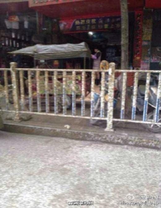 Con đường và cả hàng rào cũng ngập trong một màu xám tro đầy đặc trưng