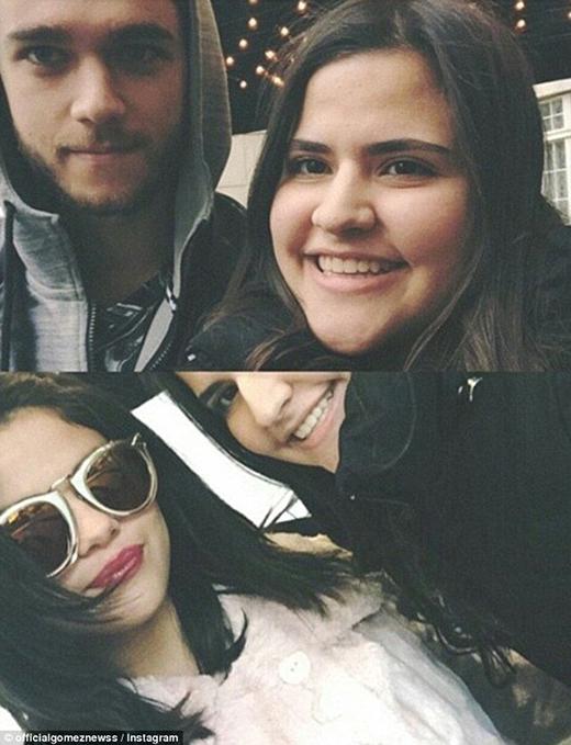 Selena và Zedd chụp ảnh chung với cùng một người hâm mộ trong buổi đi chơi mới đây