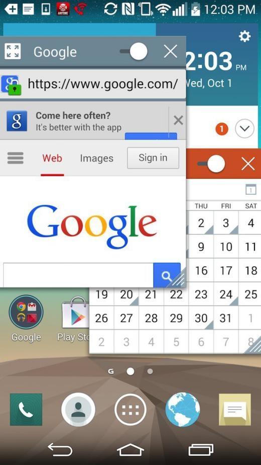 Một số điện thoại Android cho phép mở và xem nhiều ứng dụng một lúc. Ví dụ LG cho phép mở các ứng dụng trên những cửa số khác nhau, thay đổi độ trong suốt và kích thước của những cửa sổ đó.