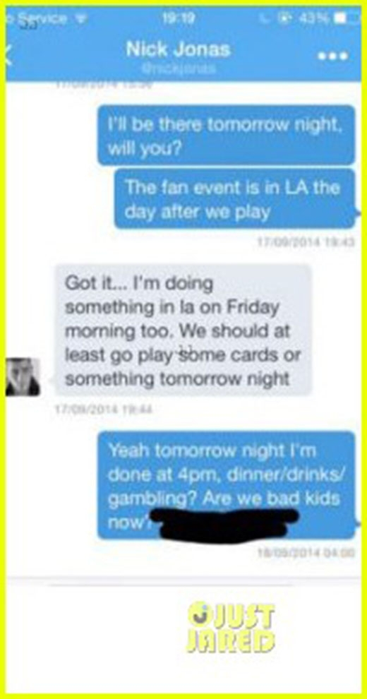 Taylor Swift bị tung tin nhắn riêng tư với Nick Jonas
