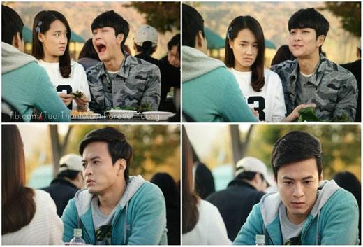 Anh chàng còn trơ mặt đòi Linh cuốn thịt cho ăn ngay trước mặt Khánh.