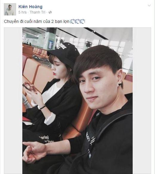 Có vẻ như Kiên Hoàng đã quyết định đón Valentine sớm cùng người yêu bằng một chuyến du lịch. Cả hai trông cực kì tông xuyệt tông với trang phục đen đơn giản mà cá tính.
