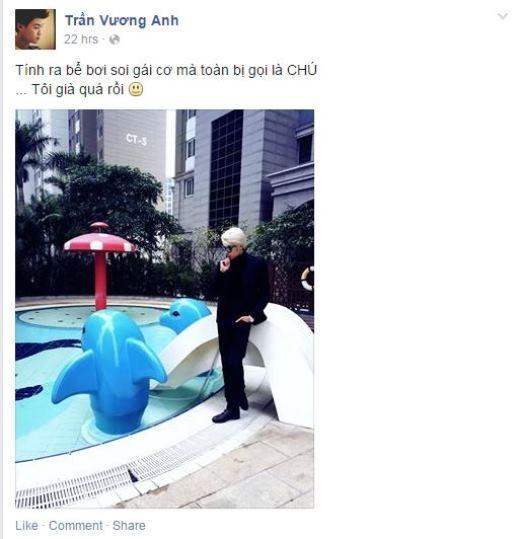 Fan được một phen bật cười khi xem hình ảnh mới nhất của hotboy Vương Anh. Anh chàng tỏ vẻ buồn bã khi bị gọi là chú khi đứng ở bể bơi của trẻ em.