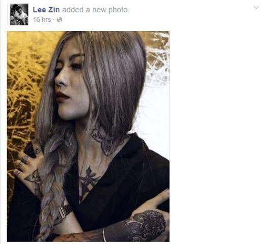 Cô nàng cá tính Lee Zin lại chia sẻ một bức ảnh có phần u buồn. Từ trước đến nay, Lee Zin luôn nổi tiếng vì những hình xăm táo bạo và đầy phong cách