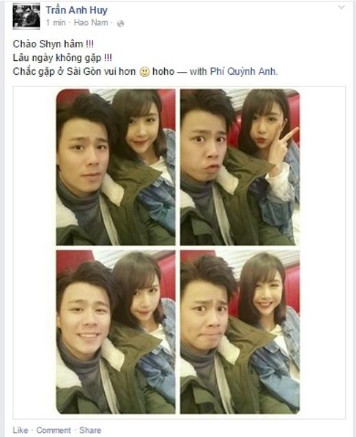 Trong khi đó, hot girl Quỳnh Anh Shyn cũng xuất hiện chung với fashionista Trần Anh Huy. Cả hai có vẻ như là đôi bạn thân thiết chụp ảnh tự sướng và vui đùa với nhau.