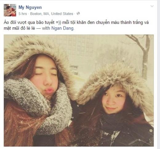 Hot girl Mie Nguyễn chắc chắn khiến nhiều người ghen tị khi đăng hình ảnh đón tuyết ở Mỹ cùng bạn thân. Cô nàng cực kì nhắng nhít dù trông thời tiết giá lạnh.