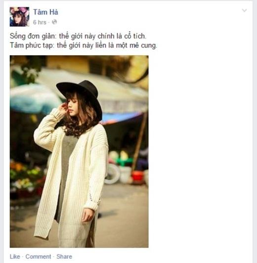 Hotgirl Hà Mjn nhận được khá nhiều like của cộng đồng mạng khi đăng dòng trạng thái khiến nhiều người suy ngẫm cùng bức ảnh chất lừ.