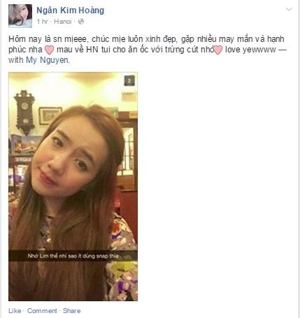 Hot girl Salim đã dành lời chúc sinh nhật nhí nhảnh tới Mie Nguyễn. Hai cô nàng tỏ ra vô cùng thân thiết và khắng khít. Hiện tại Mie đang ở Mỹ nên đành phải nhận những lời chúc mừng của bạn bè qua internet.