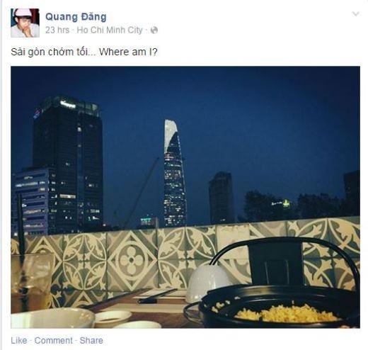 Sau một khoảng thời gian làm việc căng thẳng, có vẻ như anh chàng biên đạo múa điển trai Quang Đăng đã tự tưởng cho mình một buổi tối sang trọng ngắm thành phố về đêm. Nhiều người thắc mắc liệu có phải Quang Đăng đang hẹn hò ăn tối cùng người yêu?!