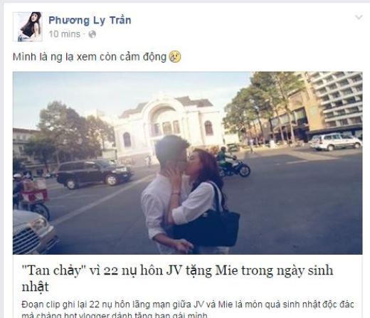 Nhiều fan thích thú khi ca sỹ Phương Ly yêu thích cặp đôi JV và Mie Nguyễn. Có vẻ như cặp đôi đáng yêu này chiếm được rất nhiều cảm tình của không chỉ người hâm mộ mà còn cả những hot boy, hot girl khác.
