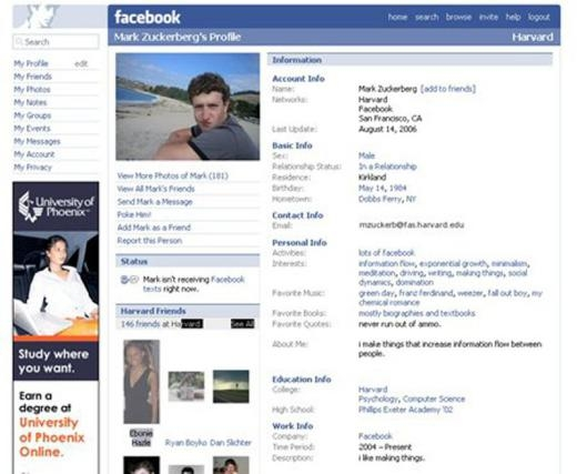 Trang cá nhân của Mark Zuckerberg năm 2006.
