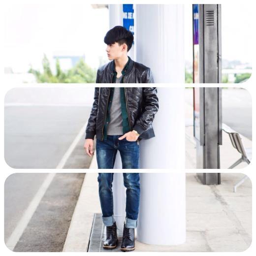 Những ngày se lạnh ở Sài Gòn đã được cậu bạn này nắm bắt rất nhanh với áo da và jeans xắn gấu phối cùng combat boot mạnh mẽ
