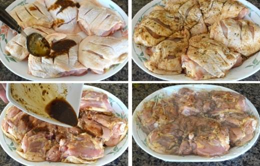 Rưới đều phần hỗn hợp trên vào từng miếng đùi gà, dùng màng bọc thực phẩm gói lại rồi cho vào tủ lạnh 30 phút