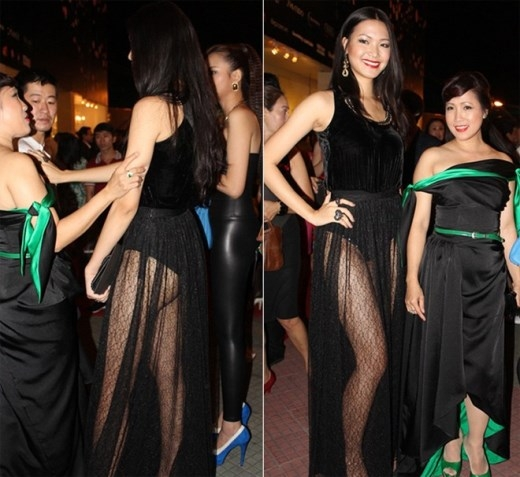 Hoa hậu Thùy Dung đánh mất vẻ đẹp sang trọng của mình với phần chân váy không chỉ quá mỏng manh làm khoe trọn vòng ba của cô.