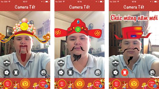 Một ứng dụng tương tự như InstaTet nhưng chỉ có trên iOS là Camera Tết. Đây cũng là một ứng dụng hoàn toàn miễn phí cho phép người dùng chèn thêm những hình ảnh mang không khí ngày Tết hay các câu đối chúc Tết quen thuộc. Camera Tết sở hữu nhiều hiệu ứng chèn thêm hơn so với InstaTet trong khi vẫn có một giao diện sử dụng đơn giản.
